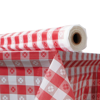 Table Cover Red Gingham  300 ft roll